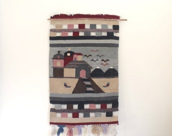 Vintage large woven wall hanging / village mountain and bird scene with fringe / hand woven tapestry on dowel
