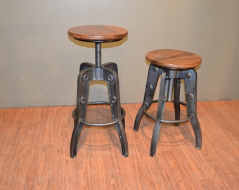 Industrial style Rustic Solid Wood Swivel Stool with adjustable height ( Listing is for one stool & Industrial bar stool | Etsy islam-shia.org
