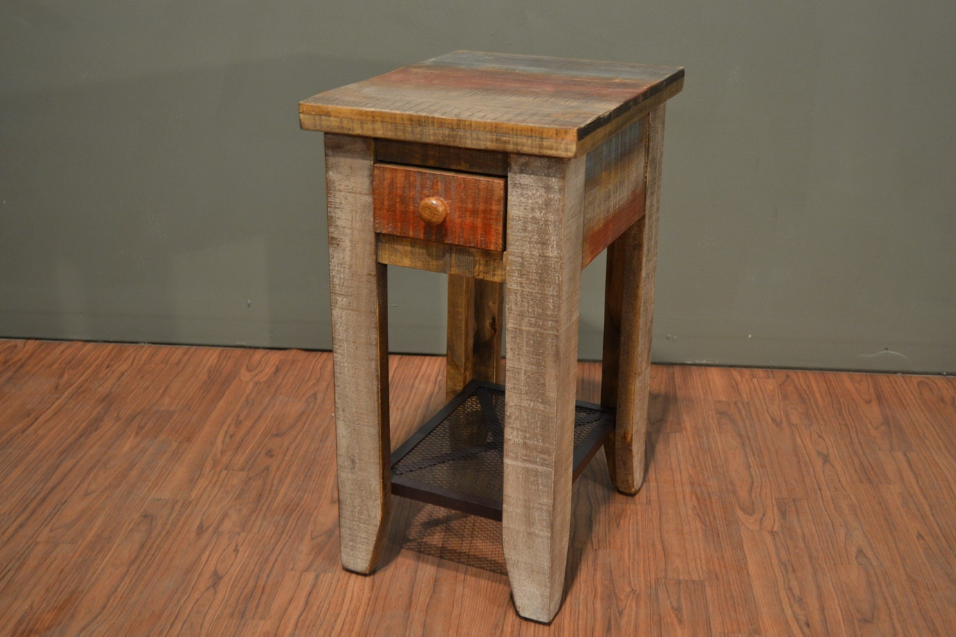 Rustic Wood Side Table ~ Rustic solid wood side table with drawer end