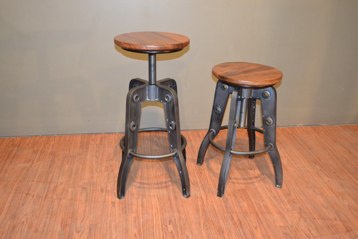 Industrial Style Rustic Solid Wood Swivel Stool With