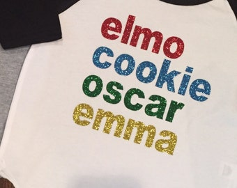 Sesame street tshirt, elmo shirt, girls custom shirt, personalized, elmo birthday shirt, raglan shirt