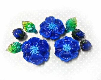 Glass beads BLUE FLOWERS Handmade lampwork beads for jewelry making Lampwork glass flowers beads Flowers jewelry Glass blue jewelry