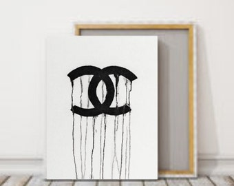 Dripping Chanel- Painting- Wall art-Canvas