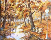 Original ACRYLIC Painting,Canvas,Fine Art,FREE SHIPPING,18 x 22',45 x 55 cm,Fall,Autumn,Landscape,Nature Painting,Wall Art,Brown,Gold,Yellow