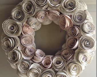 Chic Home Decor - Rolled Book Page Rose Wreath - Natural paper - handmade roses - wedding decor - gift idea - home decor - Home & Living
