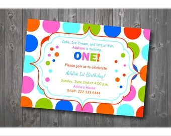 Colorful Polka Dot Birthday Invitation, First Birthday Party Invitation, Birthday Invitation