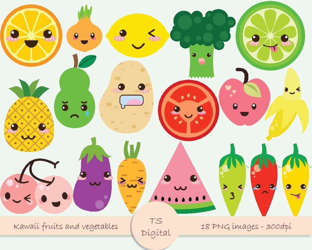 Kawaii fruits and vegetables clipart cute emotions by MassonStudio
