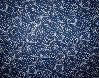 Navy Blue Bandana Fabric