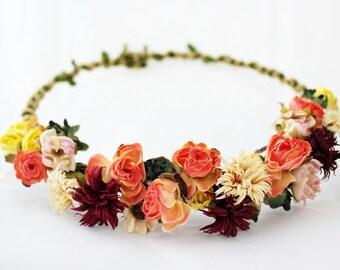 Orange and burgundy flower headpiece, yellow flower headband, flower crown, flower tiara , natural look flower wreath, flower accesorie,halo