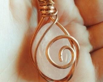 Necklace Pendant Rose Quartz copper wire wirewrap