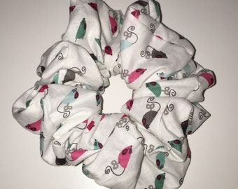 White Mouse Pattern Scrunchie