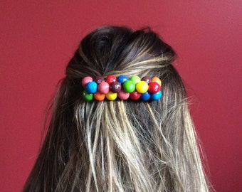 Barrette with real candy skittles