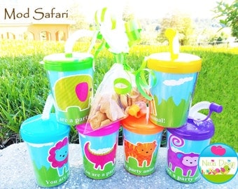 Modern Safari Personalized Party Favor Cups Set of 6, Safari, Zoo, Jungle, Animals, Safari Favors