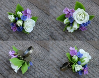 Large ring for wedding Floral Ring Lilac jewelry White rose ring Polymer clay flower ring Bridal flower Jewelry Cold porcelain flowers