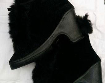 1940s Ankle Boot Heel Galoshes - Black Velvet with Fur Trim - 5.5  6.5 I AM MOVING SALE