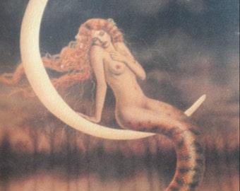 Mermaid sitting on moon