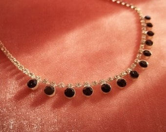 Vintage Black and Clear Rhinestone Choker Unsigned