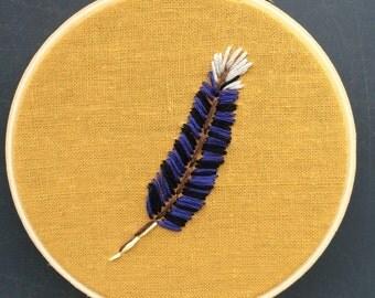 "4"" Hoop art ""Blue Jay Feather"""