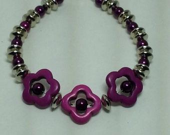 Flower Bracelet - Purple