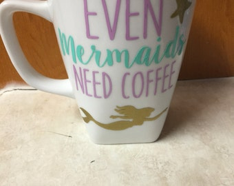 Even mermaids need coffee cup