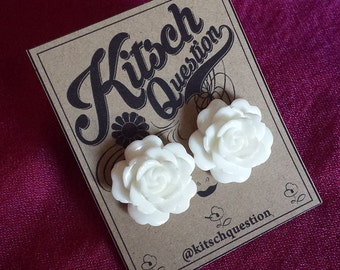Vintage White Rose Earrings
