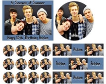 5 SECONDS OF SUMMER Birthday Cake Frosting Edible Image Toppers, Cupcakes, Sides, Thank You Cards or Invitations