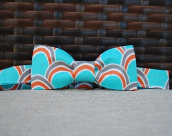 Coral and Teal bow tie