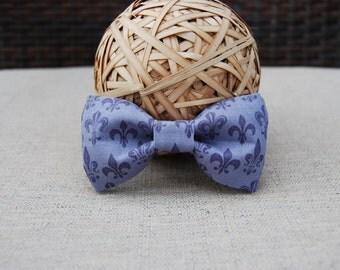 Purple Fleur de Lis bow tie