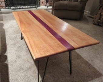 Striped Purple Heart Coffee Table Top