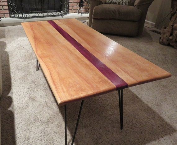 Striped purple heart coffee table top for Purple coffee table