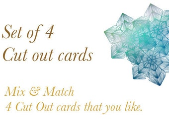 4 Cut out cards/ Blank Cards/ Mix and Match/