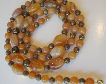 Vintage Banded Agate Glass Beads and Brass Flower Beads Necklace.