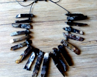 Black-Brown agate necklace
