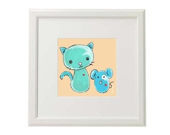 Miko and Rico.a3.ilustracion Digital.lamina Infantil.AnabellaIlustracion