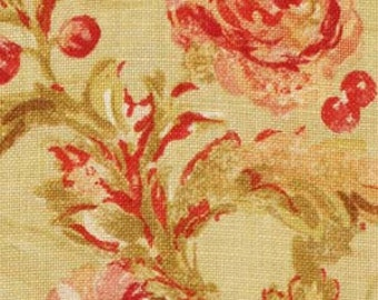 BEACON HILL MONTELCINO Floral Linen Fabric 5 Yards Citrine