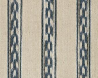 SCHUMACHER MOJAVE Southwest Ikat Stripe Fabric 10 Yards Indigo