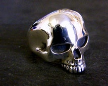 Large Solid Sterling Silver Keith Richards Bespoke Skull Ring