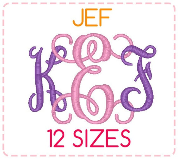 Sizes jef format interlocking monogram font embroidery