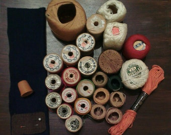Vintage Wooden Spools (13) and Thread Lot - Various Sizes - Thimble (Germany)