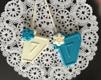 "Number Four ""SNOWFLAKE"" Disney Frozen Theme Chocolate Lollipops(12 qty) - Snowflakes/Party Favors/Snowflake Favors/Children's Birthday Party"