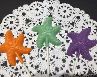 STARFISH Chocolate Lollipops(12 qty)-Starfish/Starfish Party/Children's Starfish Party/Children's Birthday Party/Party Favors/Under The Sea