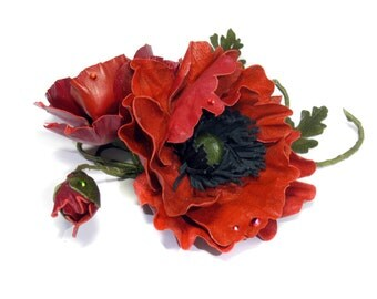 Red poppy brooch made of real leather