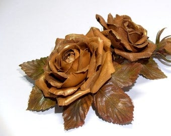 Gold rose flower made of real leather