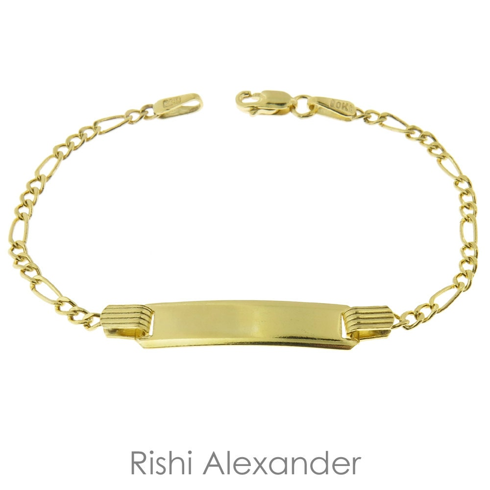 10k Gold Figaro Link Childrens ID Bracelets Personalized Name