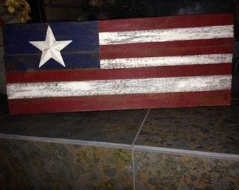 Reclaimed Barn Board American Flag