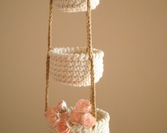 3 Tier Little Crochet Baskets, Mini Hanging Baskets, Country Decor, Natural Home Decor, Cozy Home Decor, Gift for Women