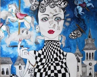 Alice in wonderland art illustration ecoline acrylic painting surreal art