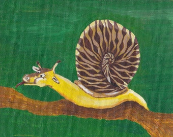 OOAK Original Acrylic Painting on Canvas Panel Surreal Giraffe Snail Peculiar Ouirky Contemporary Modern Art by Dainty Dasha