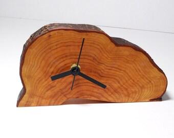 Clock, wood slice clock,wooden clock, rustic clock, desk clock (037)