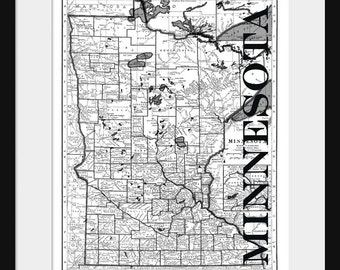 Map Of Minnesota Etsy - Map of minesota